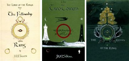 Tolkien's Cover Design for the First Edition of the three volumes.